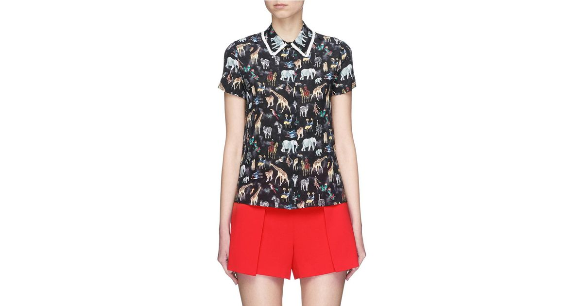 3a7fcb788c0df Lyst - Alice + Olivia  willa  Ruffle Collar Animal Print Silk Top