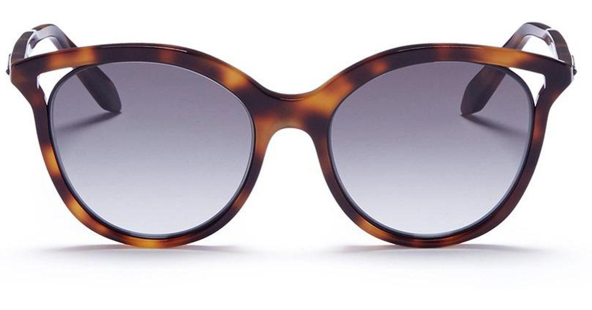 5fae1e5689412 Victoria Beckham Brown 'cut Away Kitten' Tortoiseshell Acetate Cat Eye  Sunglasses