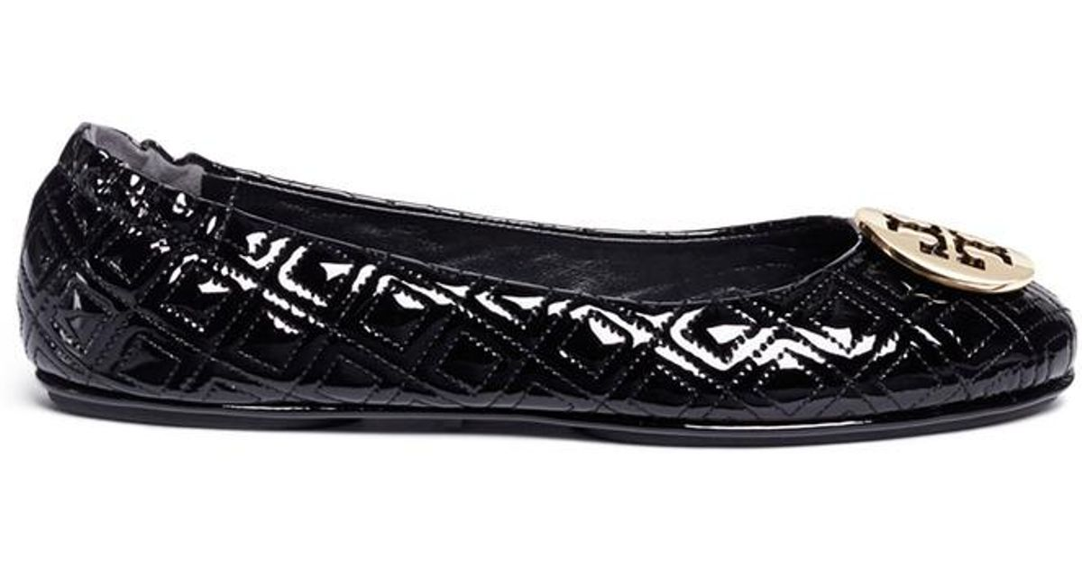 ecb10dd04bb441 ... coupon for tory burch minnie marion quilted patent leather ballet flats  in black lyst 191eb b0fe3