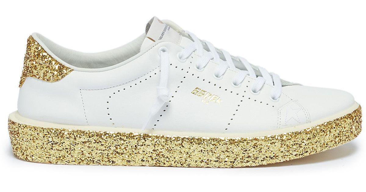 Golden Goose Deluxe Brand White Tennis Coarse Glitter Midsole Leather Sneakers