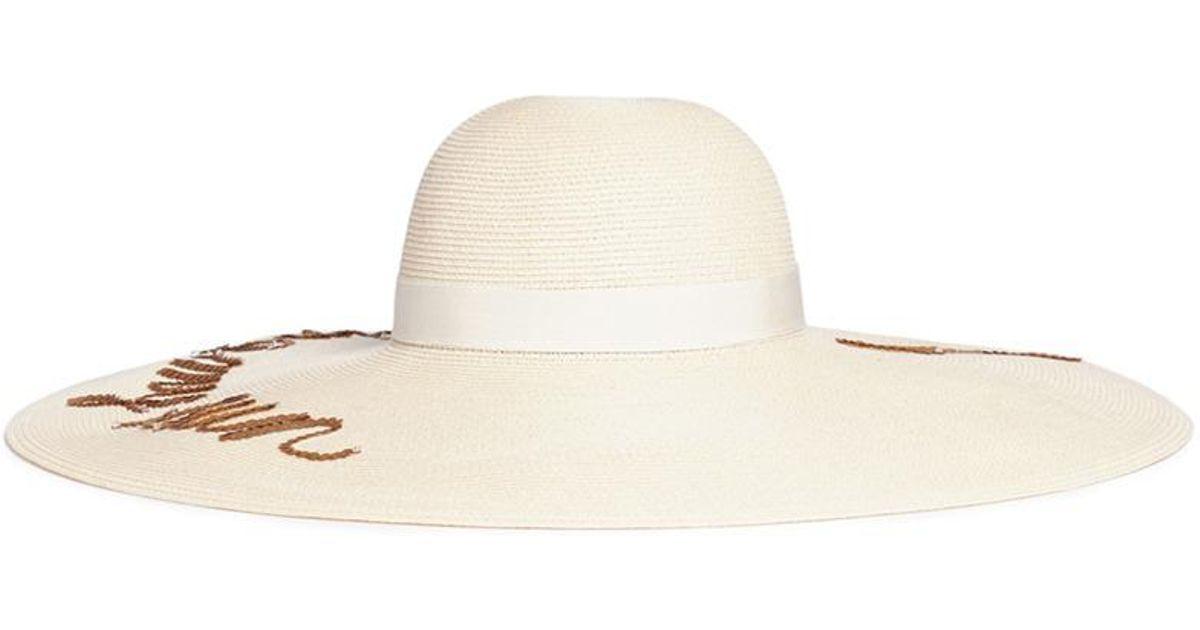 Eugenia Kim  sunny  Sequin Slogan Straw Sun Hat in Natural - Lyst 26cbdc6351e