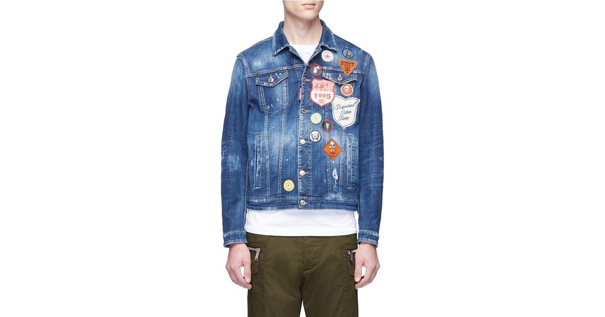 e3cd0acd400 Lyst - DSquared² Mixed Badge Washed Denim Jacket in Blue for Men