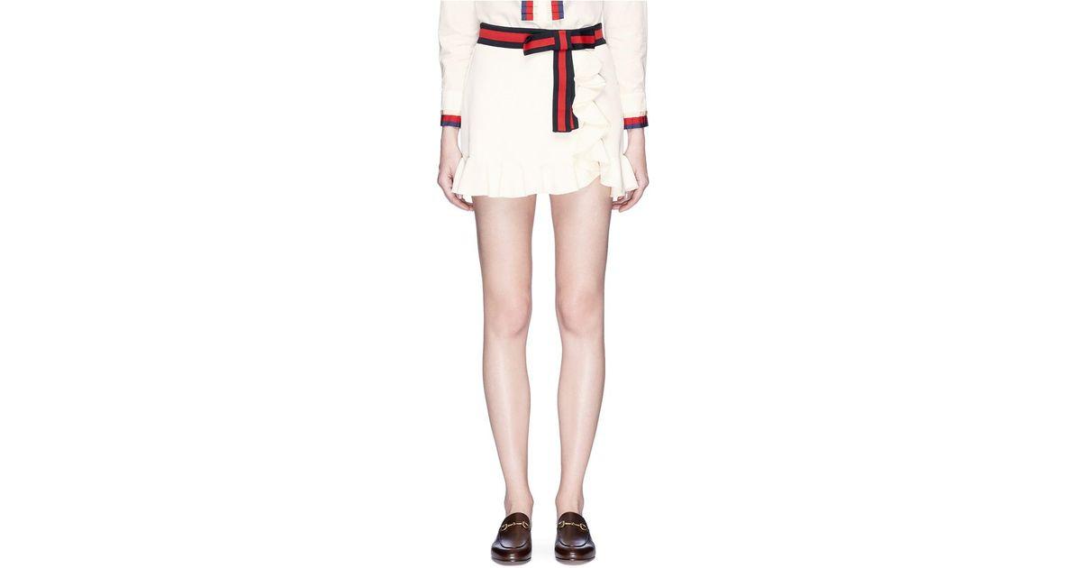 cf784a8aa4 Gucci Web Bow Ruffle Jersey Mini Skirt in White - Lyst