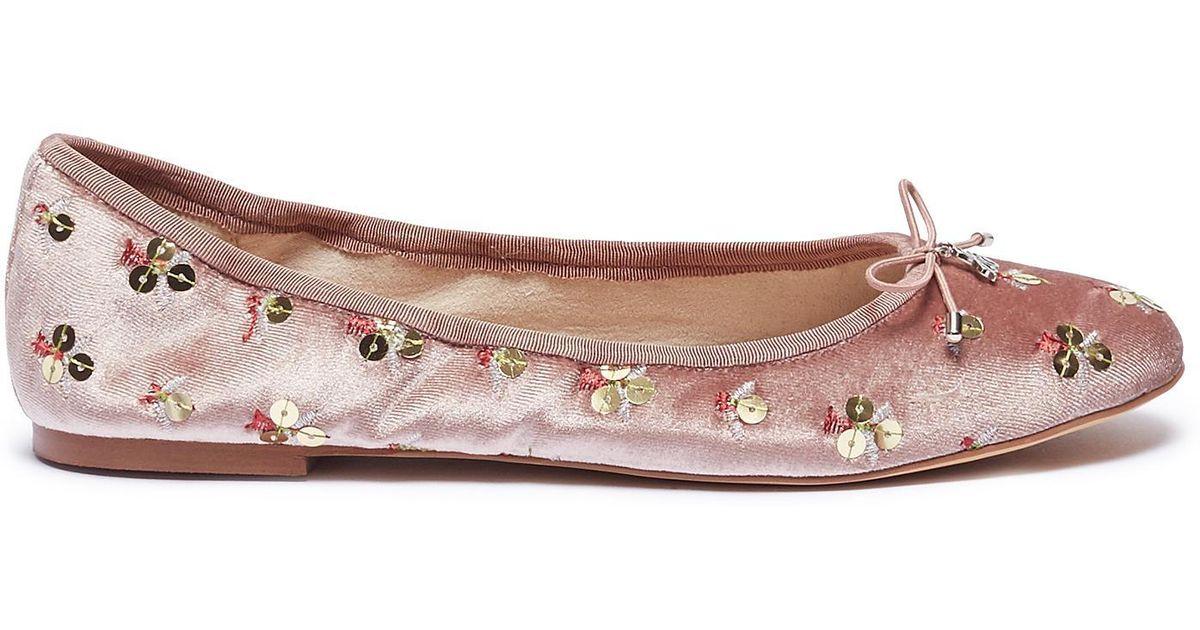 573c5c574e541 Lyst - Sam Edelman  felicia  Sequinned Velvet Ballet Flats in Pink