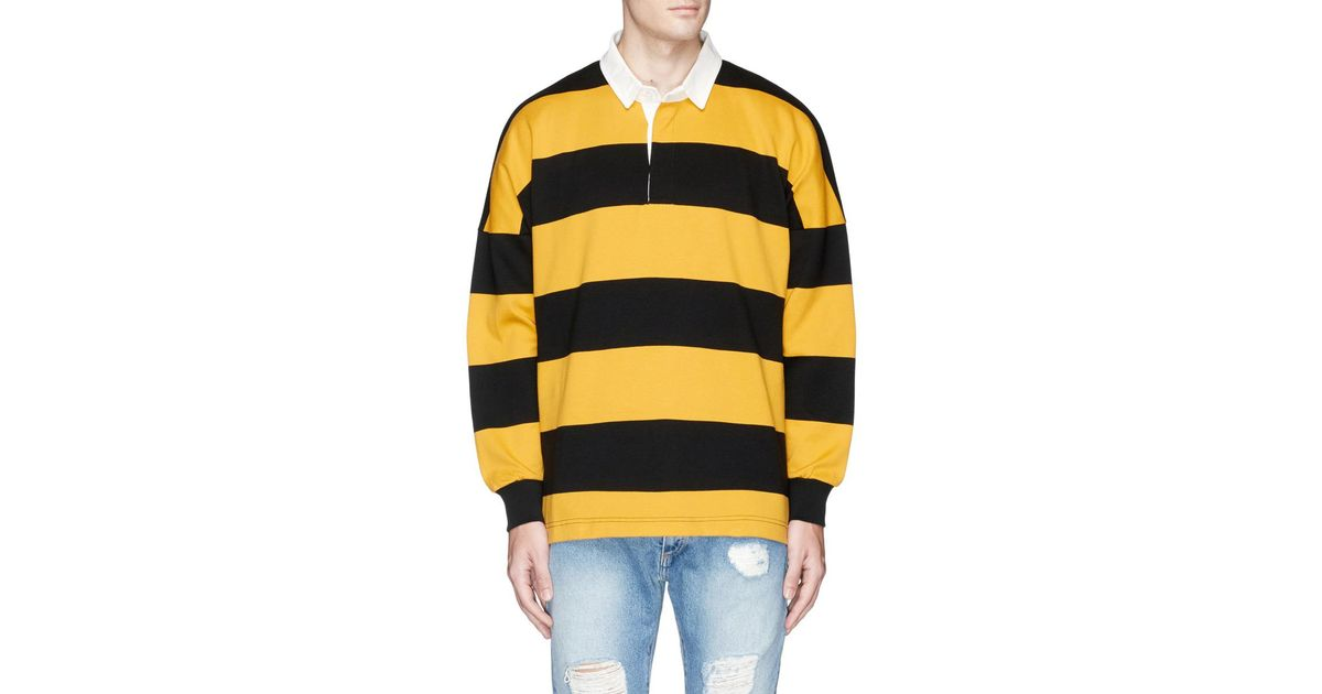 a91d7c75895 Palm Angels Stripe Logo Print Rugby Polo Shirt in Yellow for Men - Lyst