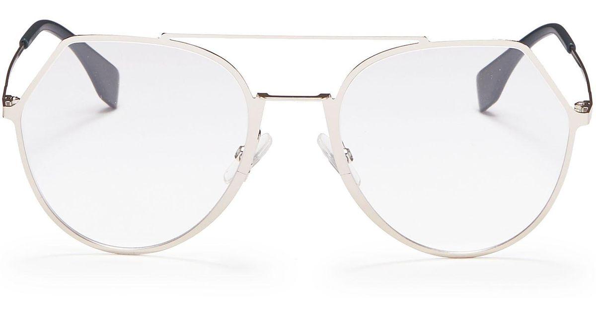 abf21139a2 Lyst - Fendi Metal Angular Aviator Optical Glasses in Metallic