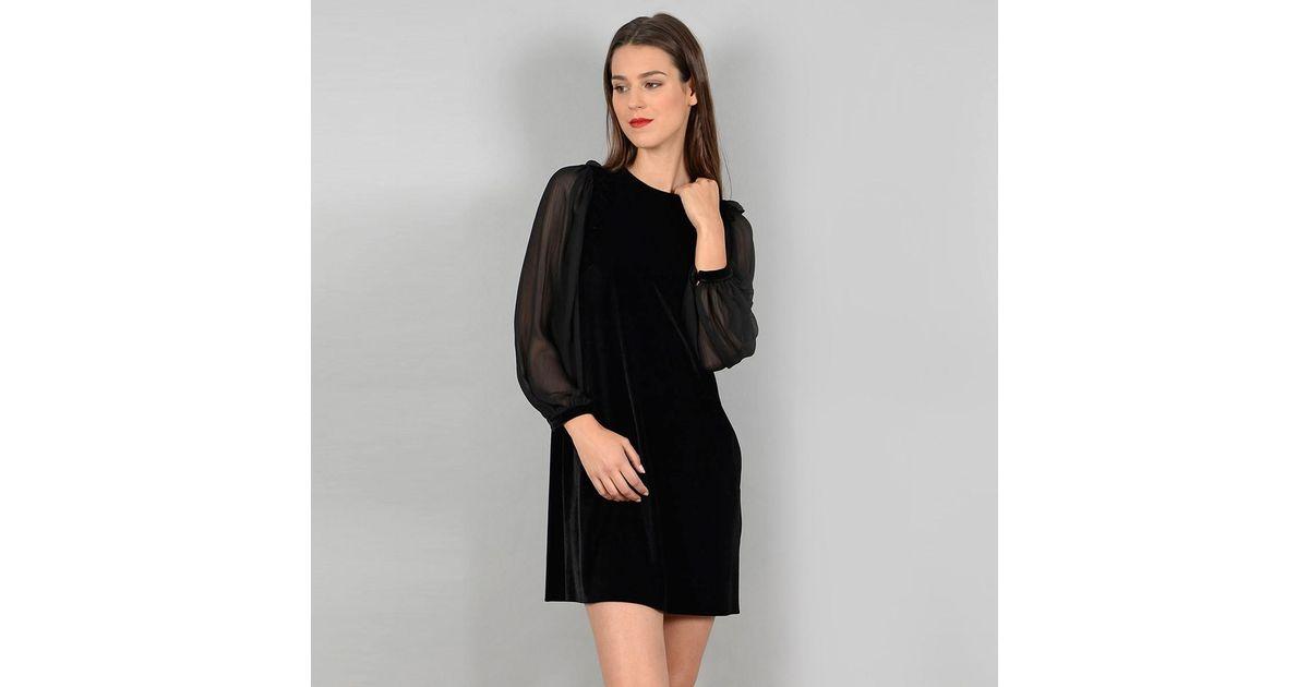 Lyst Molly Bracken Velour Dress With Mesh Sleeves Ruffles In Black