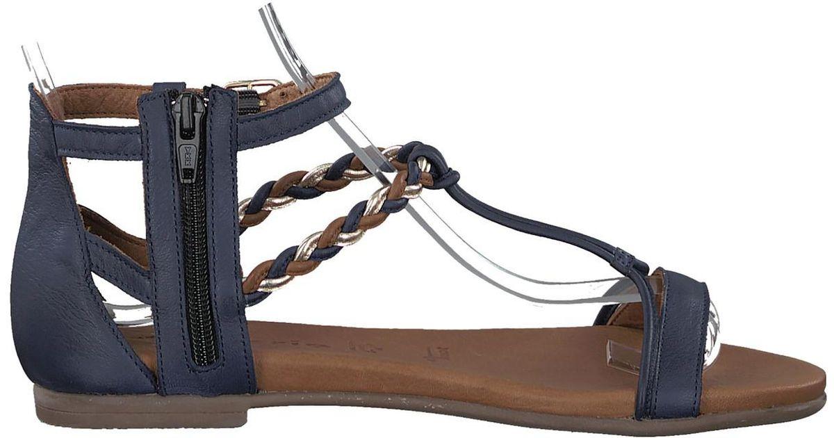 Lyst Tamaris Kim Blue Sandals Leather 76yYbfg