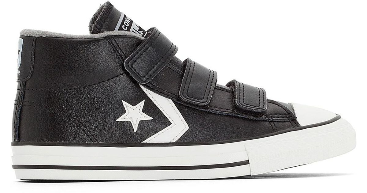 Lyst - Converse Star Player 3v Mid Leather Mid Top Trainers in Black for Men 4b379fc38