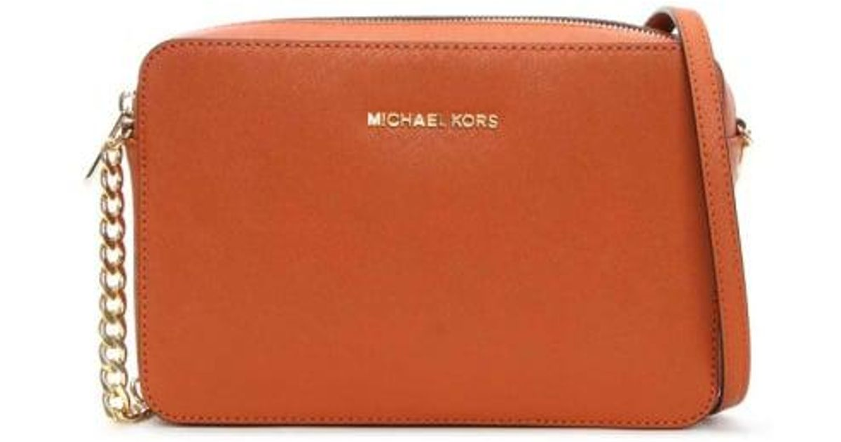 7252f946ecaf Lyst - Michael Kors Orange Leather Jetset Travel Large Ew Crossbody Bag  Colou in Orange