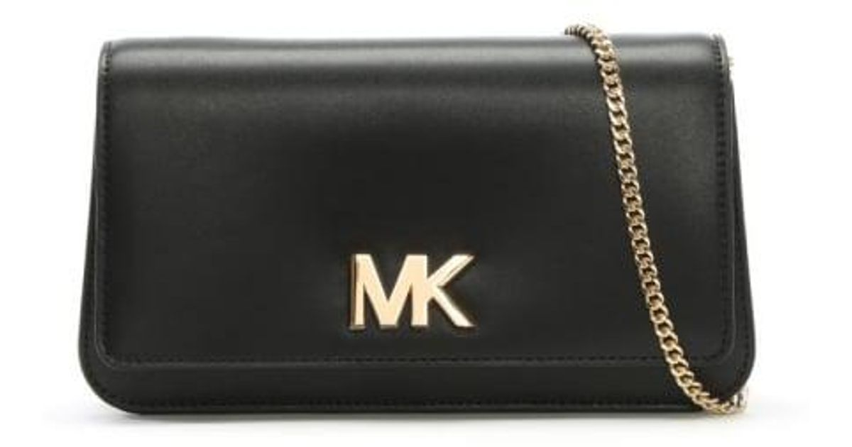 5923cc40fc284c ... clearance lyst michael kors mott black leather large clutch bag in  black 56577 b29c8