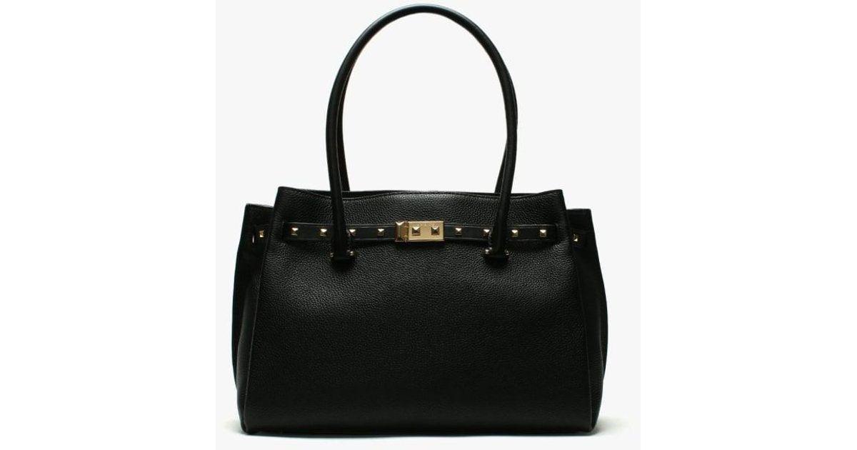 2d66def5b88c Michael Kors Large Addison Pebbled Black Leather Tote Bag in Black - Lyst