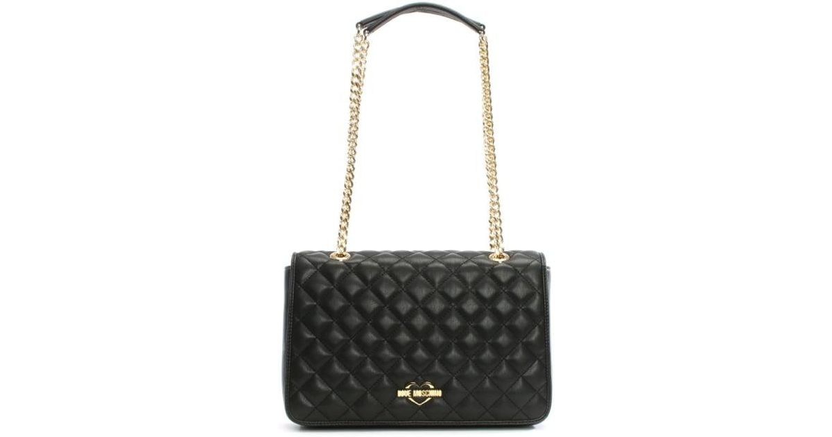 17fd4006b4 Lyst - Love Moschino Georgia Black Quilted Chain Shoulder Bag in Black