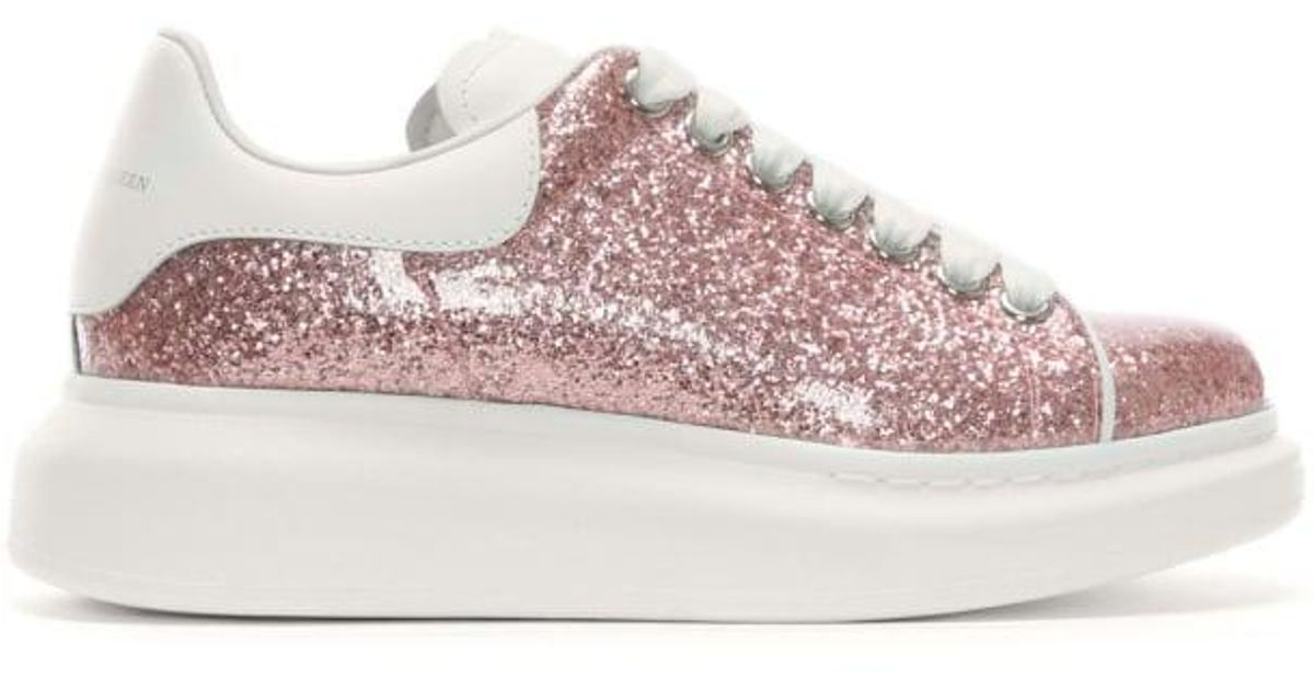 Alexander McQueen Pink Glitter Lace Up Sporty Trainers