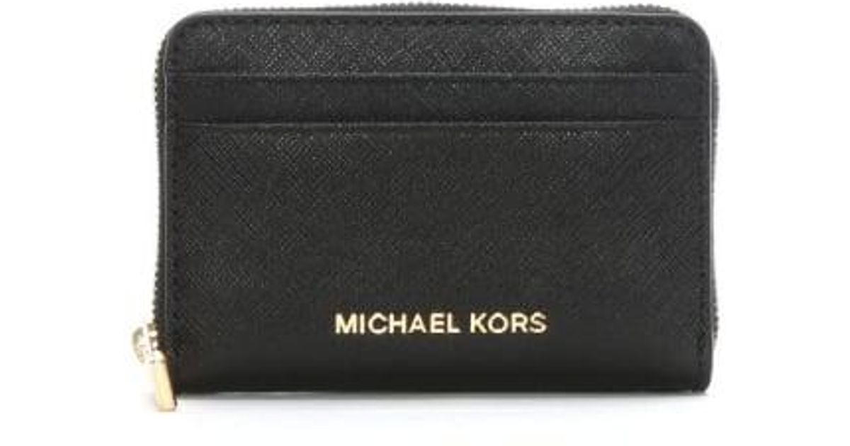 free shipping f4e29 62bcd Michael Kors Black Saffiano Leather Zip Around Card Case