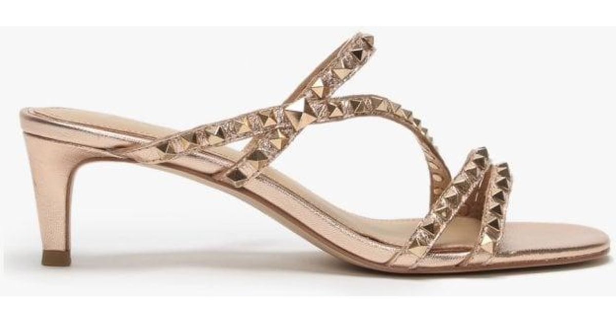 a2d9f5a90 Ash Kate Studs Rose Gold Leather Kitten Heel Sandals in Metallic - Lyst