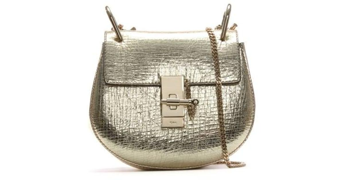 68041a3b73 Chloé Metallic Chloe Drew Mini Gold Leather Saddle Bag