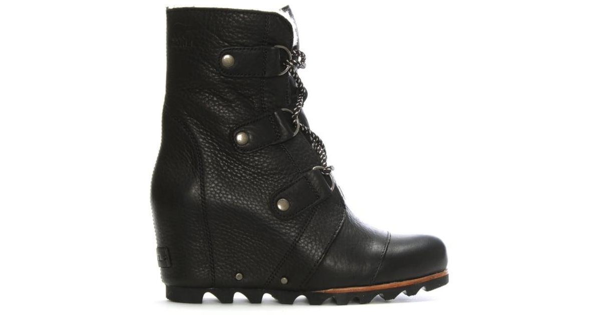 f7b4cc313a2 Lyst - Sorel Joan Of Arctic Black Leather Wedge Boots in Black