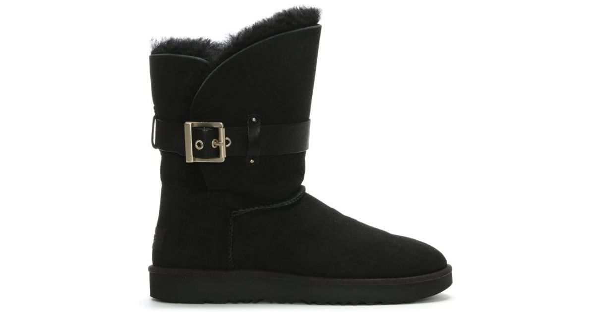 b85435683ae Ugg Jaylyn Black Suede Buckle Twinface Ankle Boots