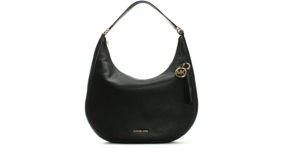 a6f42b099525 Lyst - Michael Kors Lydia Large Black Tumbled Leather Hobo Bag in Black