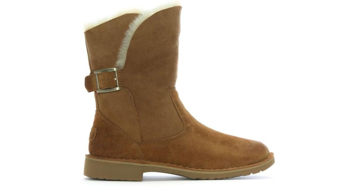 2f1cd2044b6 Ugg Brown Jannika Chestnut Suede Twinface Ankle Boots