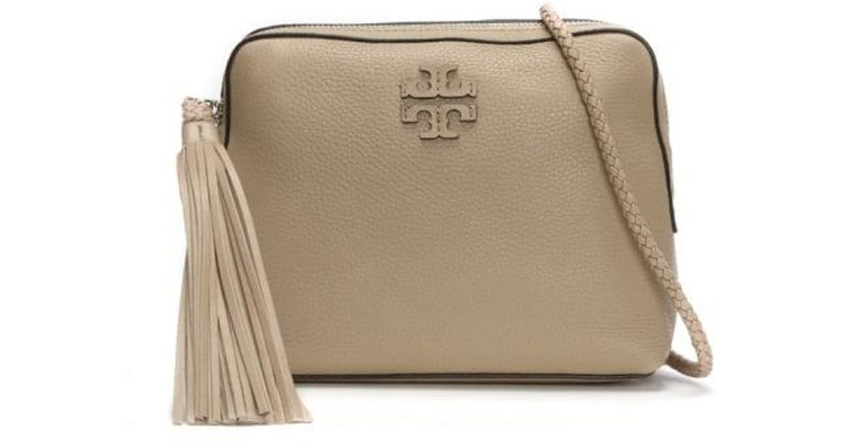 38e7356e966 Lyst - Tory Burch Taylor Soft Clay Leather Tassel Camera Bag in Natural