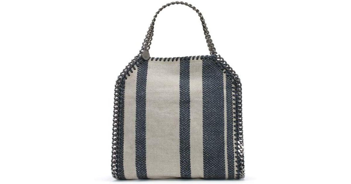 69b4a3485c5b Lyst - Stella McCartney Falabella Navy Striped Canvas Shoulder Bag in Blue