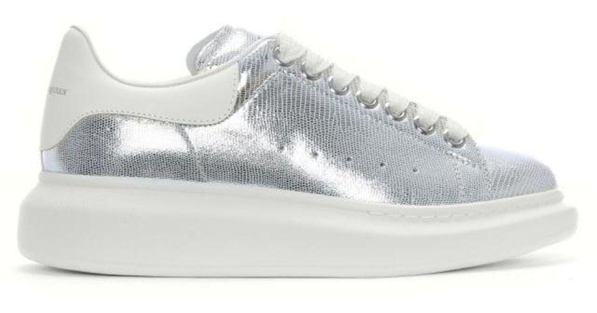 4d1cd83eeb05 Lyst - Alexander McQueen Oversized Silver Reptile White Flash Leather  Sneaker in Metallic