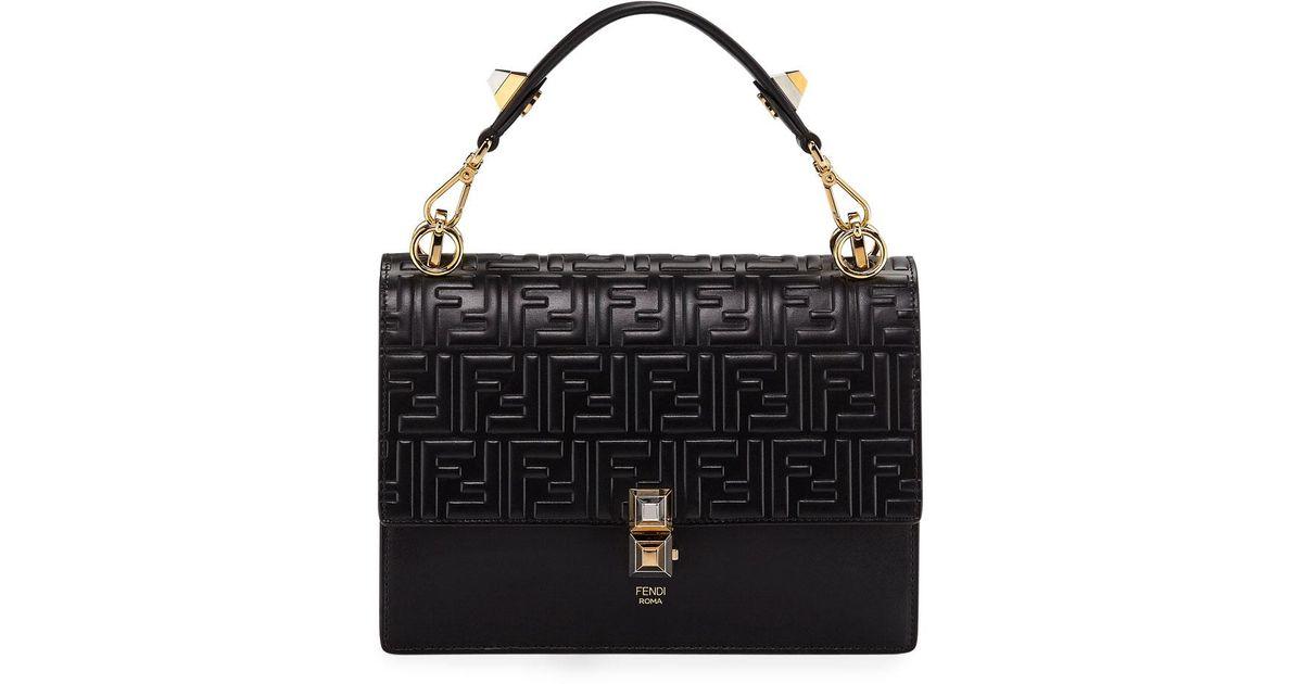 94e07ddbdff1 Lyst - Fendi Kan I Ff-embossed Liberty Shoulder Bag in Black
