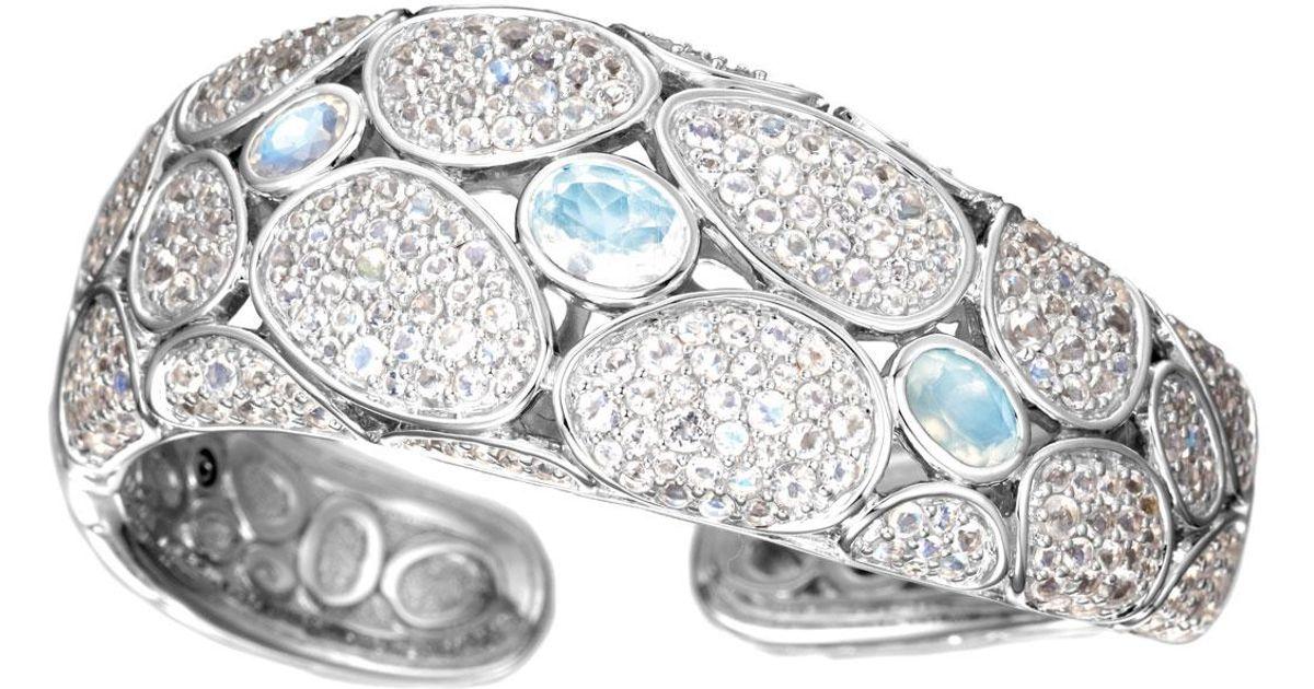 John Hardy Bangle With Rainbow Moonstone And Diamonds Xs White diamond v6Mr1