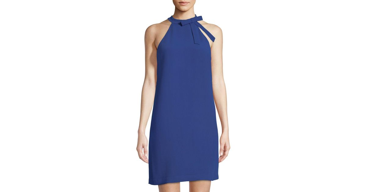 ffd22492a87 Lyst - Cece by Cynthia Steffe Tie-neck Halter Crepe Shift Dress in Blue
