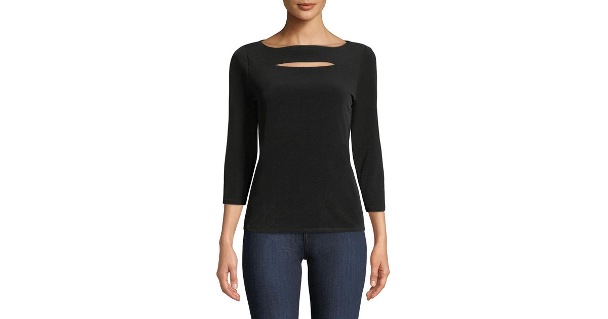 dc17472c82263d Carmen By Carmen Marc Valvo Boat-neck Cutout Jersey Top in Black - Lyst