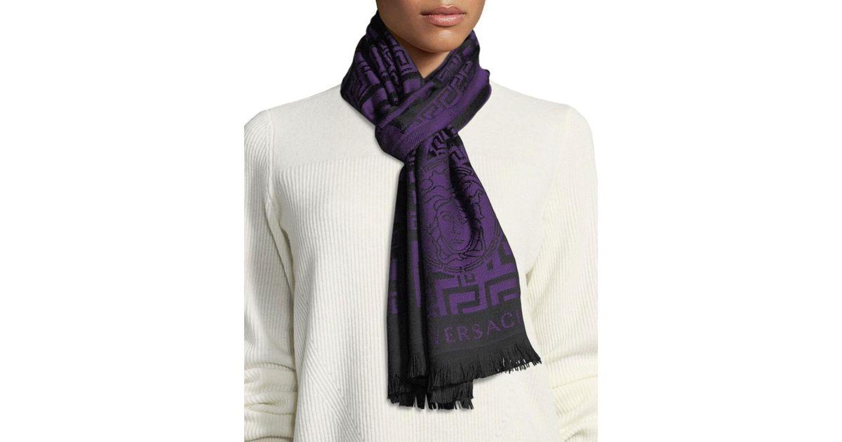 145524642 Versace Crazy Maze Wool Scarf in Purple - Lyst