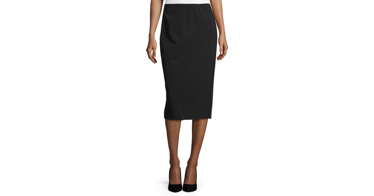 lafayette 148 new york faux leather trim pencil skirt in