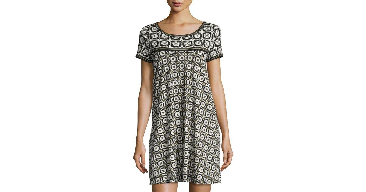 b6c4d3a6 Lyst - Max Studio Geometric-print T-shirt Dress in Blue