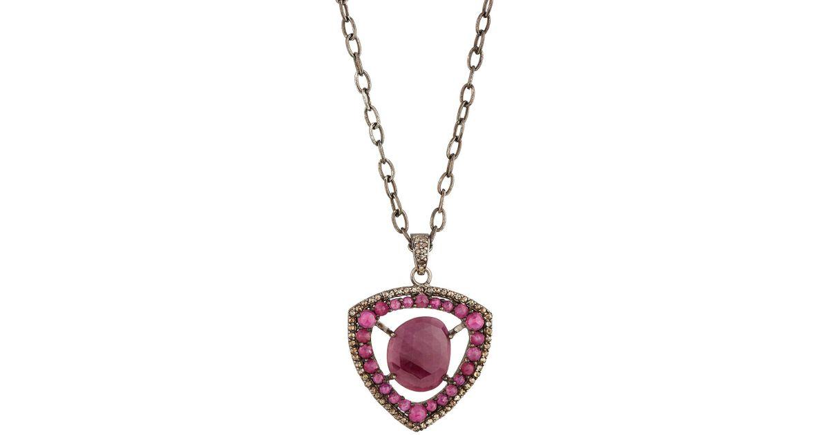 Bavna Glass Ruby & Diamond Strawberry Pendant Necklace Ru9WwjNqbX