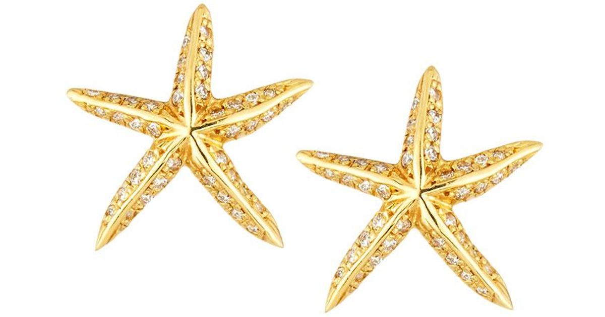 Lyst Roberto Coin Tiny Treasures 18k Diamond Starfish Stud Earrings In Metallic