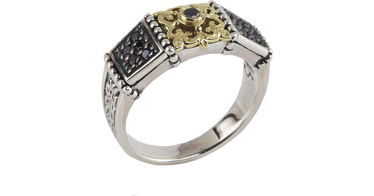 Konstantino Asteri Floral Pave Black Diamond Band Ring, Size 7