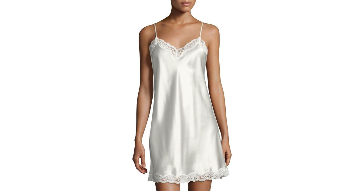 Lyst - Neiman Marcus Lace-trimmed Silk Chemise in White 41c3d10aa
