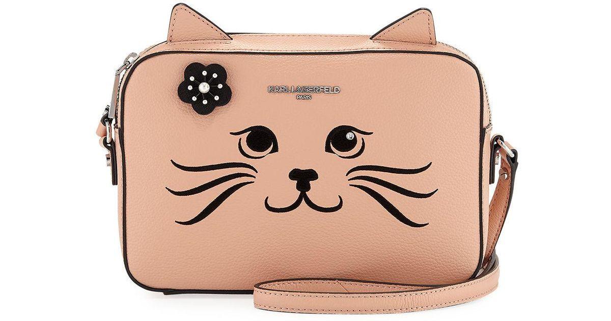 Lyst Karl Lagerfeld Maybelle Choupette Cat Faux Saffiano Crossbody Bag