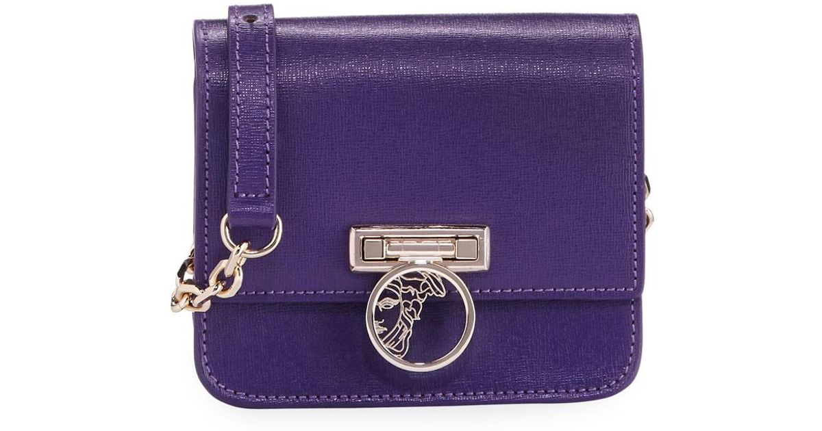 432045764943 Lyst - Versace Saffiano Leather Small Crossbody Bag in Purple