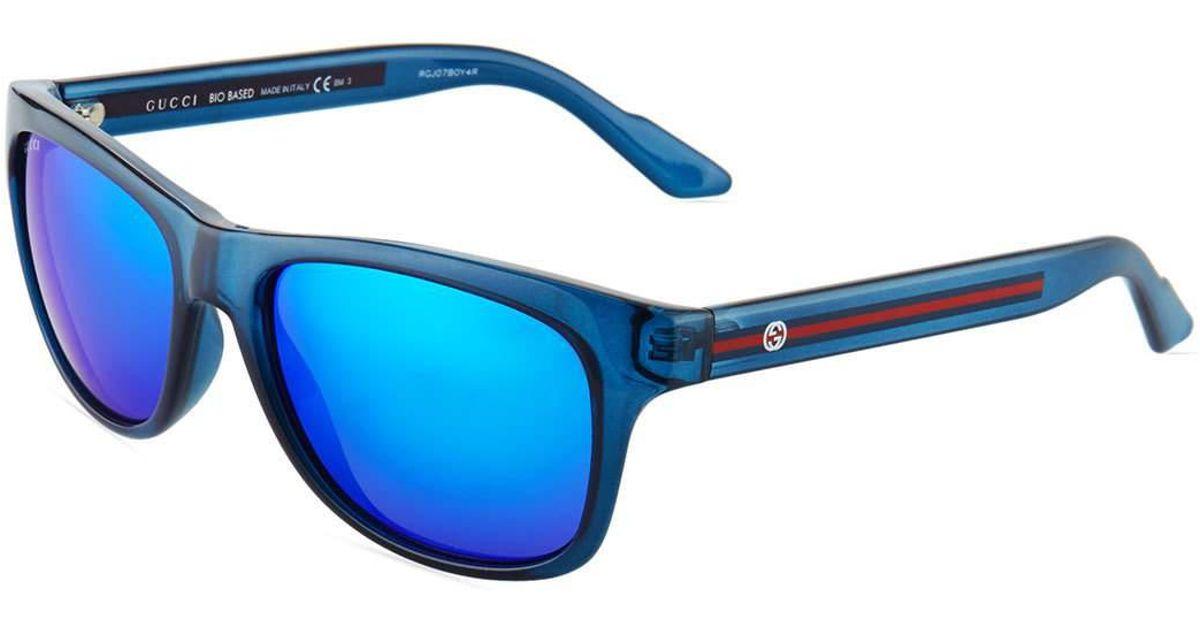ebc217a0cae3b Gucci Square Plastic Sunglasses W  Web Arms in Blue for Men - Lyst