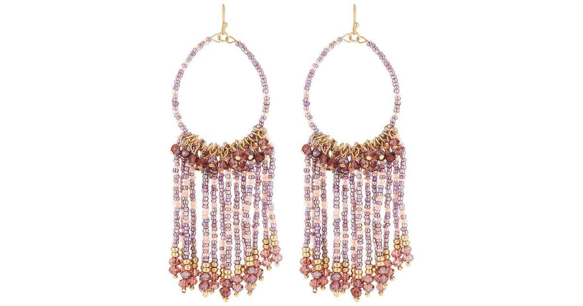 Lydell Nyc Multi-Tassel Drop Earrings, Fuchsia