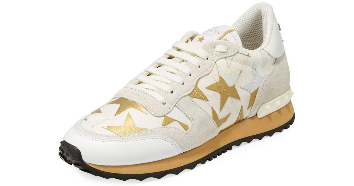 Valentino Leather Star-print Mixed Sneakers In White