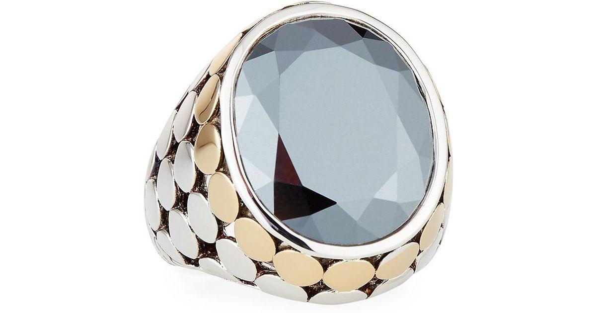Lyst John Hardy Large Oval Hematite Cocktail Ring in Metallic