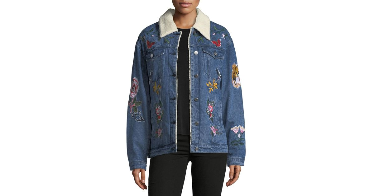 d17ca65fa Bagatelle Blue Faux-shearling-lined Embroidered Denim Jacket