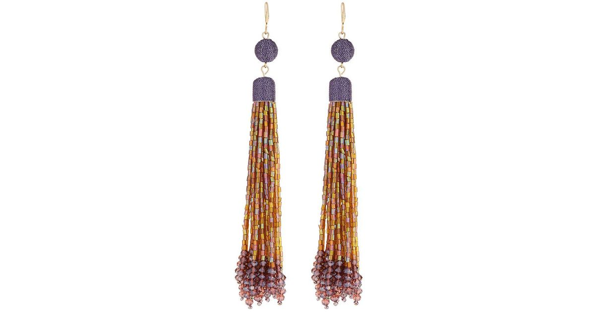 Lydell Nyc Light Blue Tassel Bead Drop Earrings LFSlp