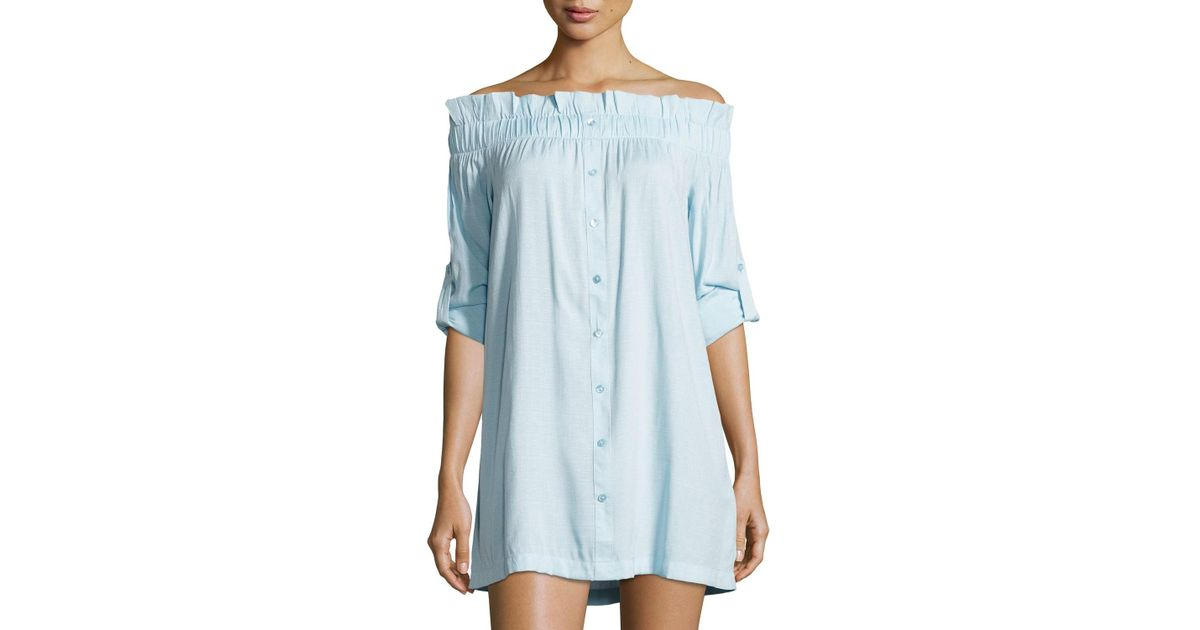 c58aa8c54479 Lyst - MINKPINK Business Casual Off-the-shoulder Mini Shirtdress in Blue