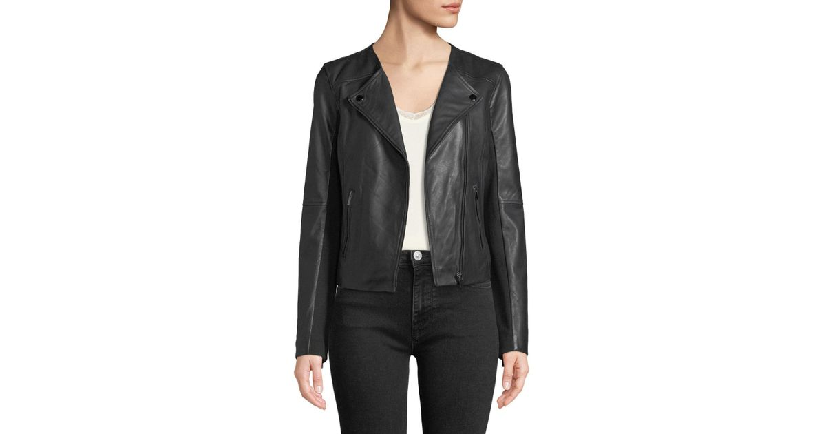 53761e864 Bagatelle Black Collarless Smooth-leather Biker Jacket
