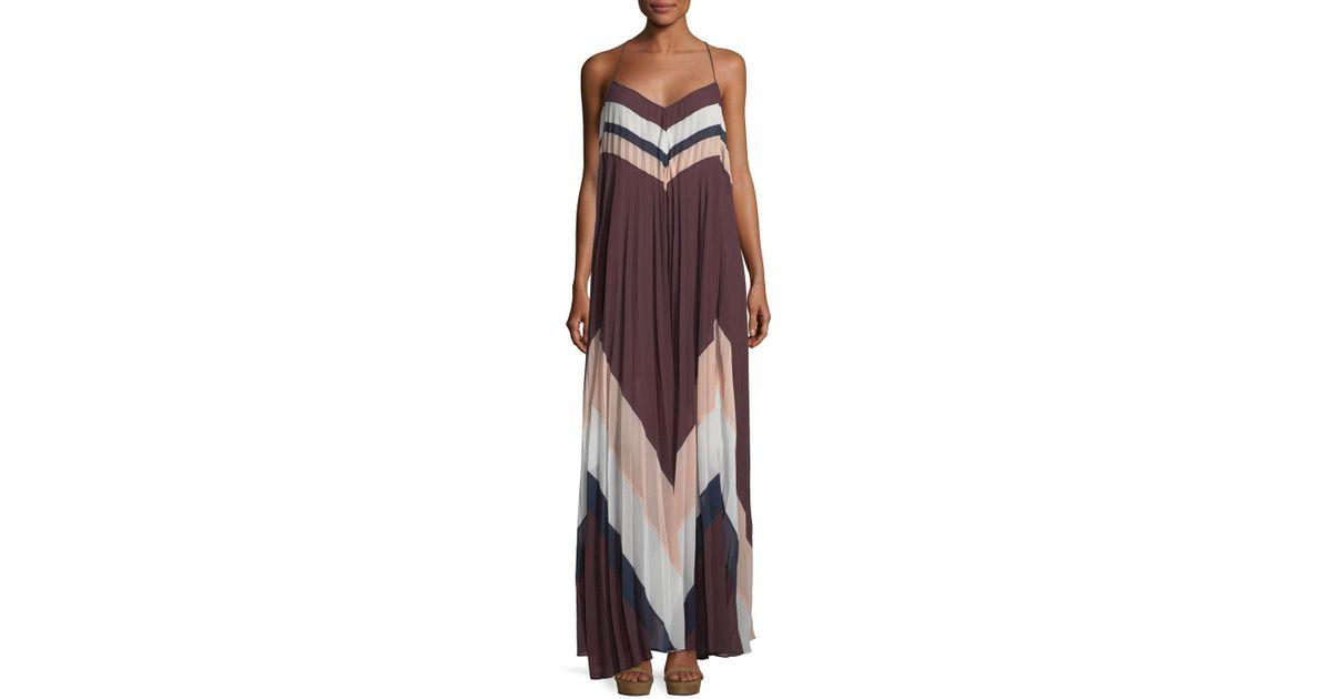 5caaf7aa36689 Lyst - BCBGMAXAZRIA Plisse Chevron Long Cocktail Dress in Purple